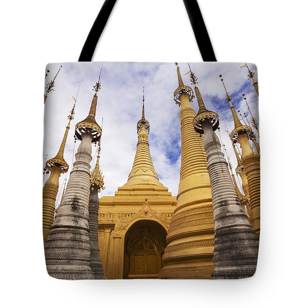 Ruined Pagodas At Shwe Inn Thein Paya Tote Bag by Chris Caldicott