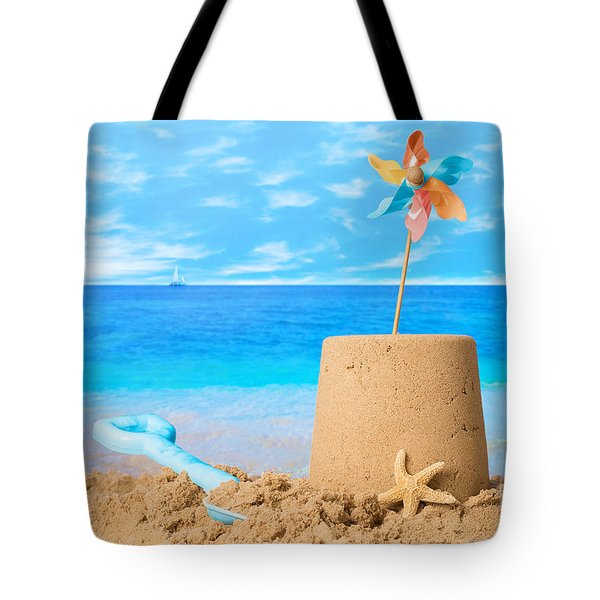 Sandcastle On Beach Tote Bag by Amanda Elwell