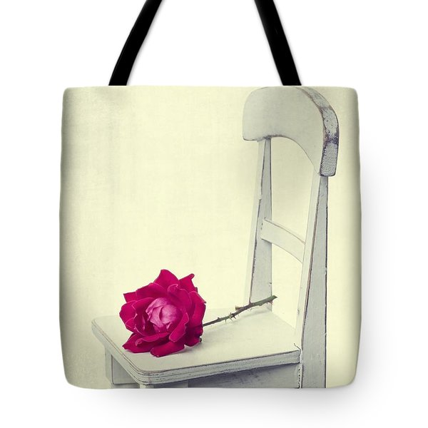 Single Red Rose Tote Bag by Edward Fielding