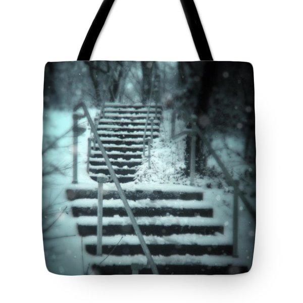 Snowy Stairway Tote Bag by Jill Battaglia