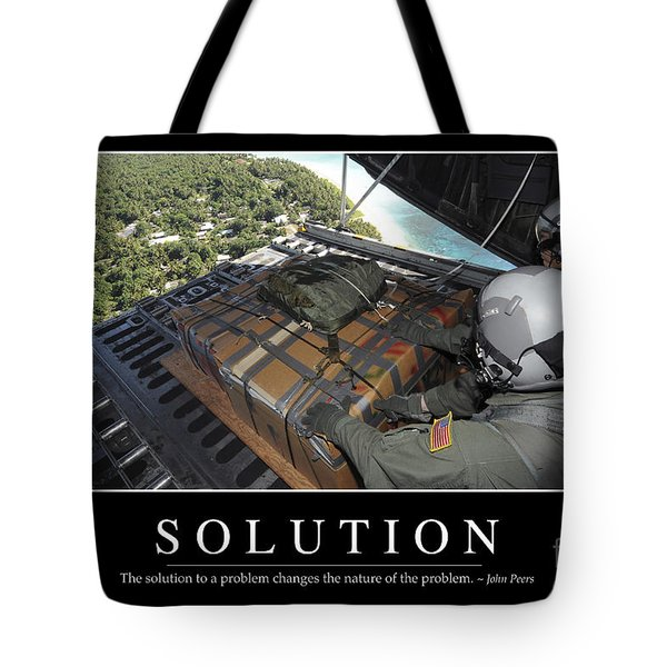 Solution Inspirational Quote Tote Bag by Stocktrek Images