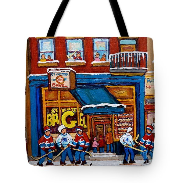 St. Viateur Bagel With Hockey Tote Bag by Carole Spandau