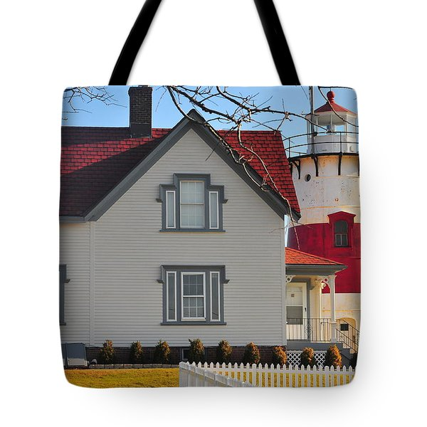 Startford Point Light Tote Bag by Catherine Reusch  Daley