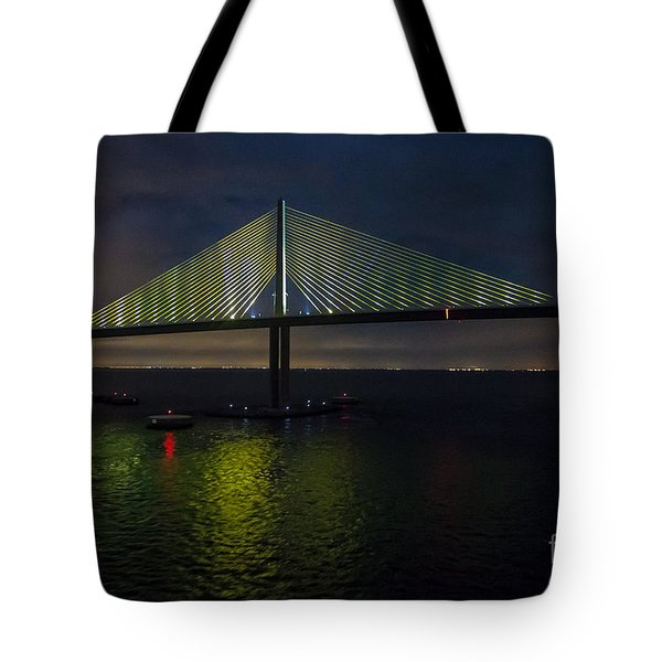 Sunshine Skyway Bridge Tampa Florida Tote Bag by Rene Triay Photography