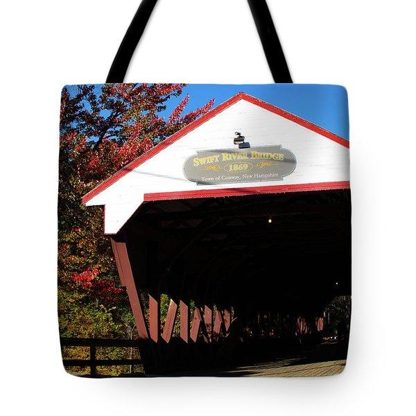 Swift River Covered Bridge Tote Bag by Jeff Folger