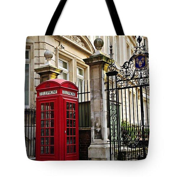 Telephone Box In London Tote Bag by Elena Elisseeva