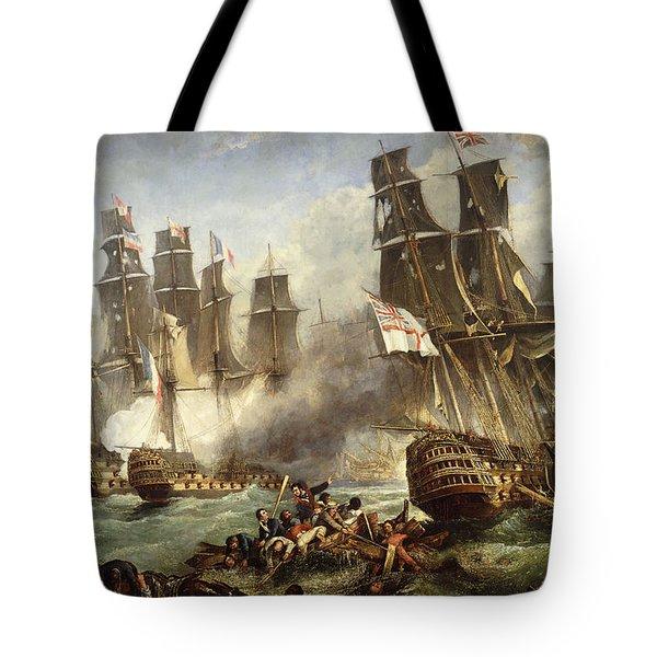 The Battle Of Trafalgar Tote Bag by English School
