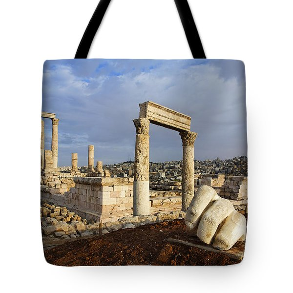 The Temple Of Hercules And Sculpture Of A Hand In The Citadel Amman Jordan Tote Bag by Robert Preston