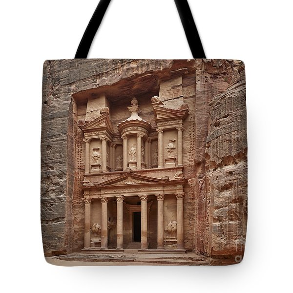 the treasury Nabataean ancient town Petra Tote Bag by Juergen Ritterbach