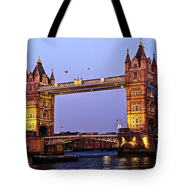 Tower bridge in London at dusk Tote Bag by Elena Elisseeva