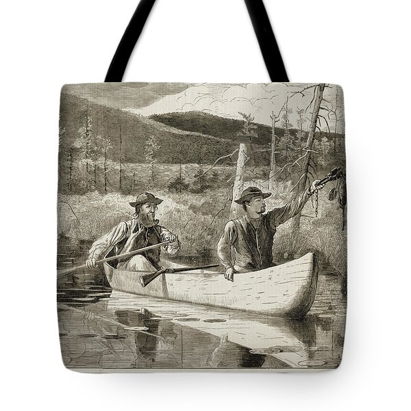 Trapping in the Adirondacks Tote Bag by Winslow Homer