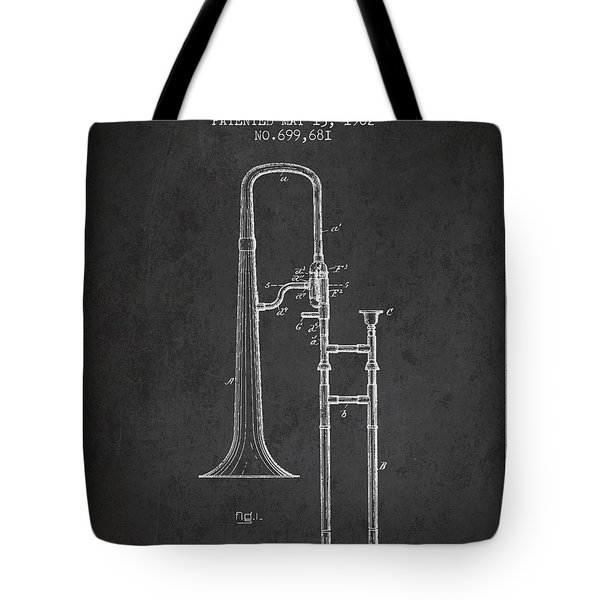 Trombone Patent From 1902 - Dark Tote Bag by Aged Pixel