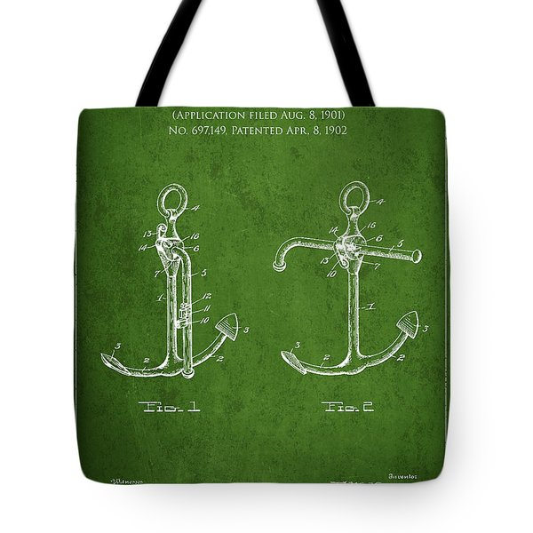 Vintage Anchor Patent Drawing from 1902 Tote Bag by Aged Pixel