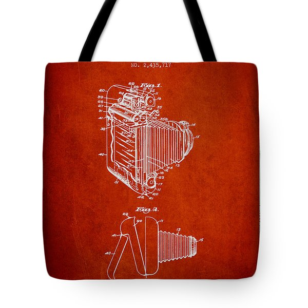 Vintage film camera patent from 1948 Tote Bag by Aged Pixel