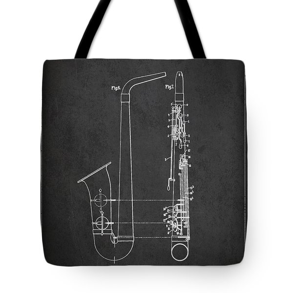 Saxophone Patent Drawing From 1899 - Dark Tote Bag by Aged Pixel