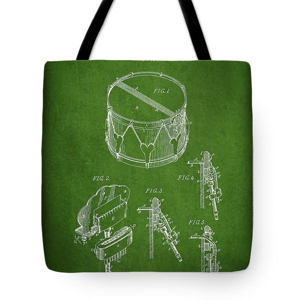 Vintage Snare Drum Patent Drawing from 1889 - Green Tote Bag by Aged Pixel