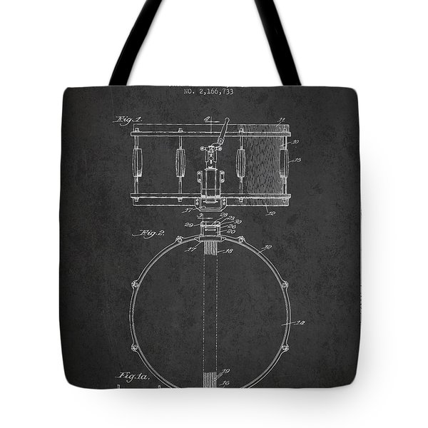 Snare Drum Patent Drawing From 1939 - Dark Tote Bag by Aged Pixel