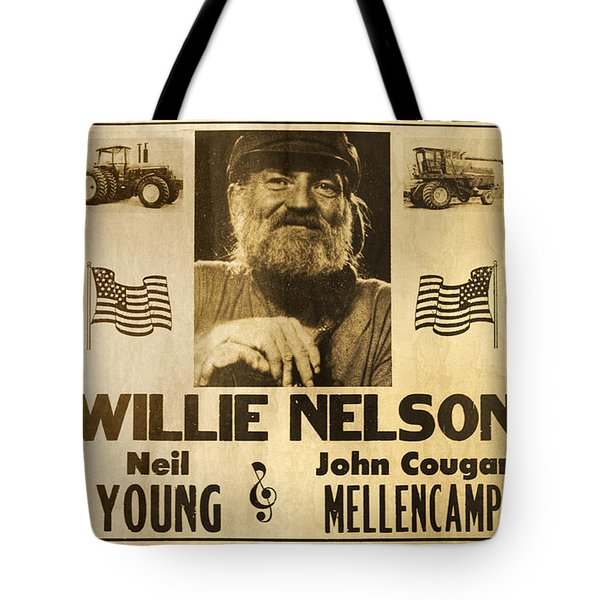 Vintage Willie Nelson 1985 Farm Aid Poster Tote Bag by John Stephens