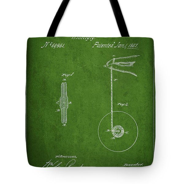 Vintage Yoyo Patent Drawing From 1867 Tote Bag by Aged Pixel