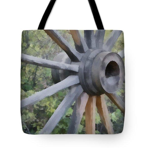 Wagon Wheel Tote Bag by Ernie Echols