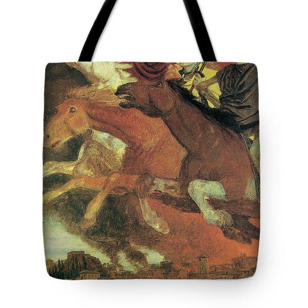 War Tote Bag by Arnold Bocklin