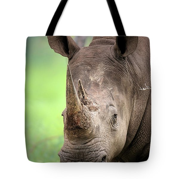 White Rhinoceros Tote Bag by Johan Swanepoel