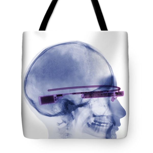 Woman Wearing Google Glass X-ray Tote Bag by Ted Kinsman