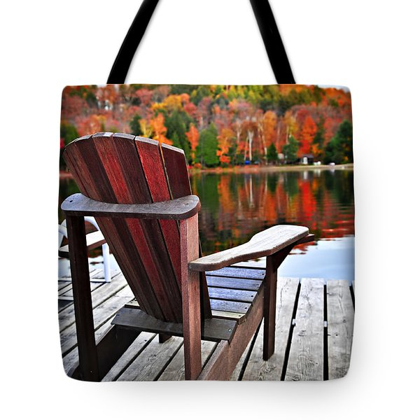 Wooden Dock On Autumn Lake Tote Bag by Elena Elisseeva