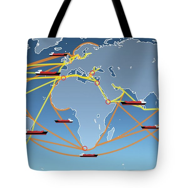 World Shipping Routes Map Tote Bag by Atiketta Sangasaeng