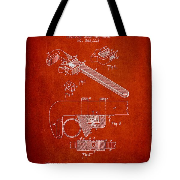 Wrench Patent Drawing From 1896 Tote Bag by Aged Pixel