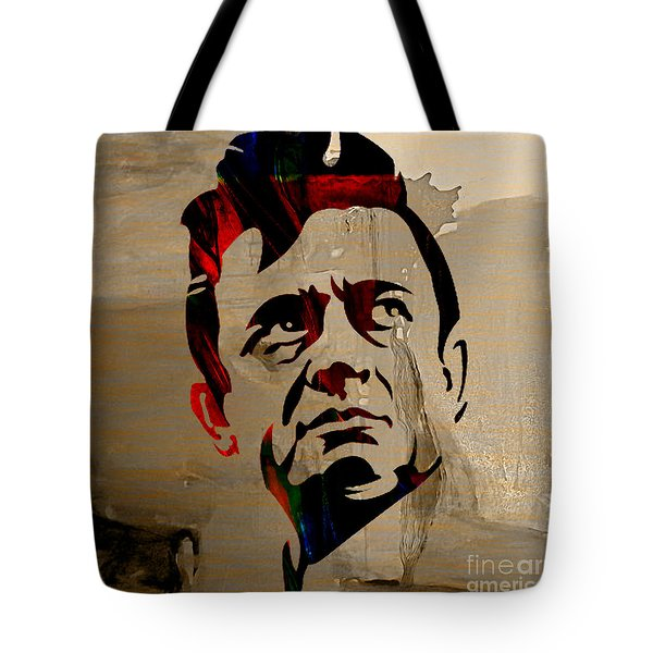 Johnny Cash Tote Bag by Marvin Blaine