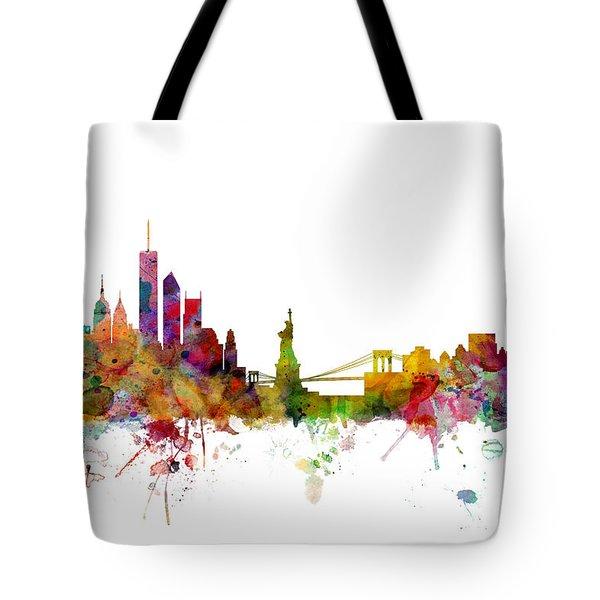 New York Skyline Tote Bag by Michael Tompsett
