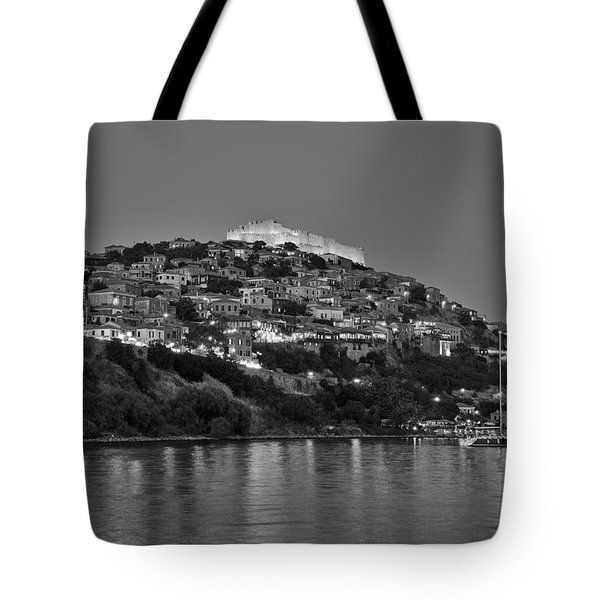 Molyvos Village During Dusk Time Tote Bag by George Atsametakis