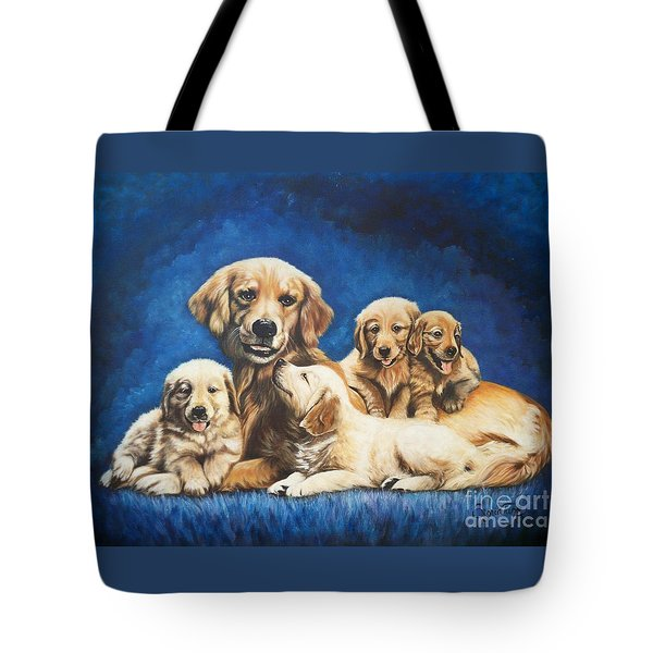 145 Golden Retriever And Pups Tote Bag by Sigrid Tune