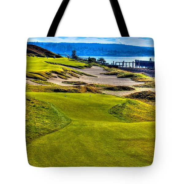 #16 at Chambers Bay Golf Course - Location of the 2015 U.S. Open Championship Tote Bag by David Patterson