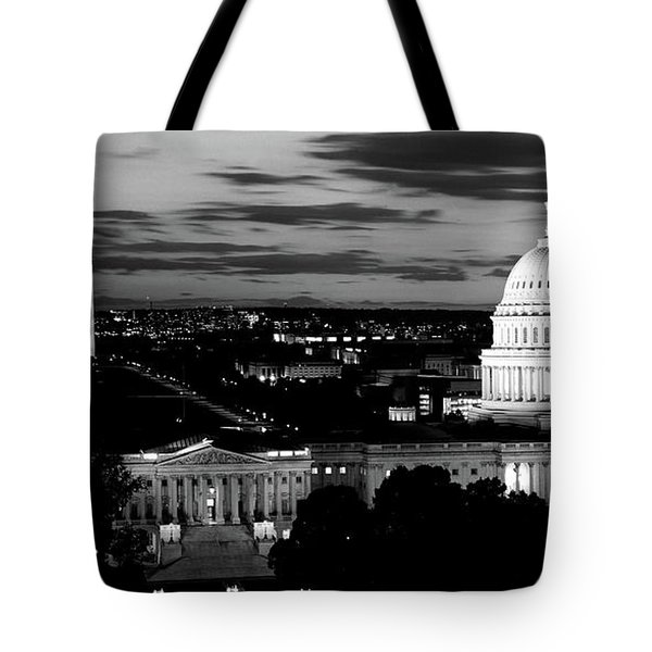 High Angle View Of A City Lit Tote Bag by Panoramic Images