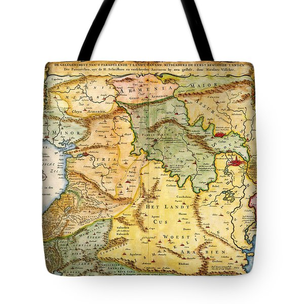 1657 Visscher Map Of The Holy Land Or The Earthly Paradise Geographicus Gelengentheyt Visscher 1657 Tote Bag by MotionAge Designs