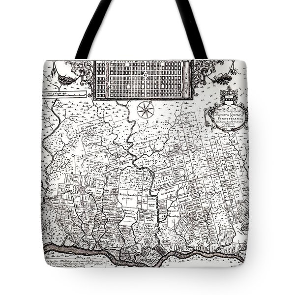 1687 Pennsylvania Map Tote Bag by Bill Cannon