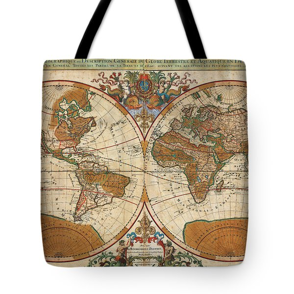 1691 Sanson Map Of The World On Hemisphere Projection Geographicus World Sanson 1691 Tote Bag by MotionAge Designs