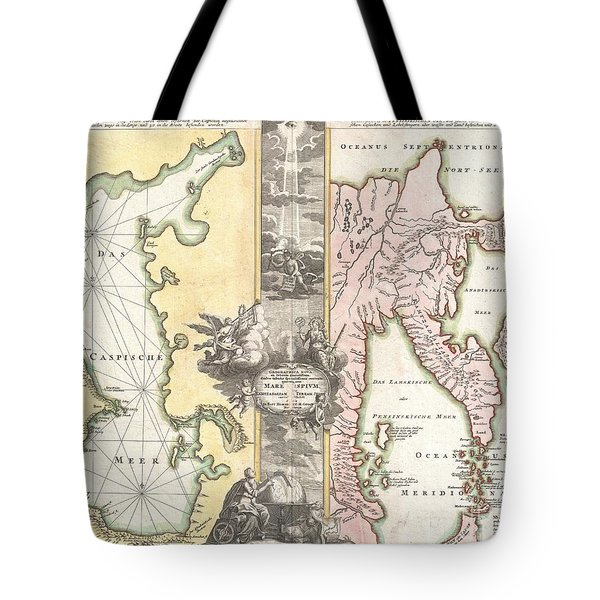 1725 Homann Map of the Caspian Sea and Kamchatka Tote Bag by Paul Fearn