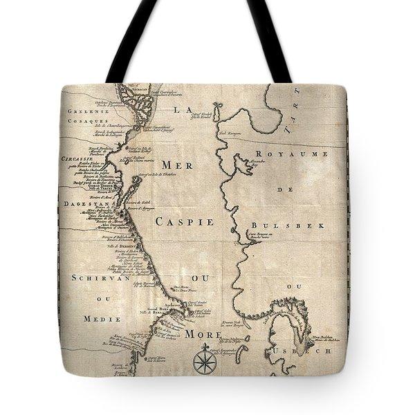 1730 Van Verden Map Of The Caspian Sea Tote Bag by Paul Fearn
