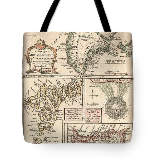 1747 Bowen Map Of The North Atlantic Islands Greenland Iceland Faroe Islands Tote Bag by Paul Fearn