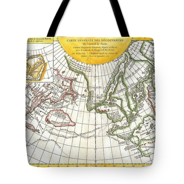 1772 Vaugondy and Diderot Map of the Pacific Northwest and the Northwest Passage Tote Bag by Paul Fearn