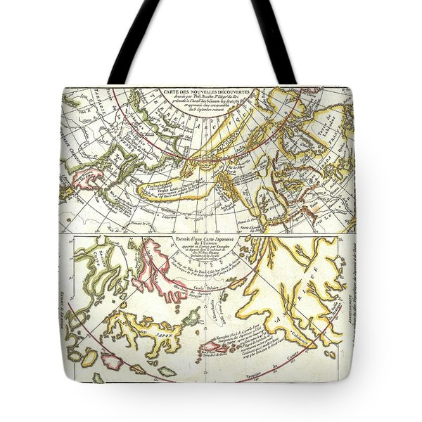 1772 Vaugondy Diderot Map Of Alaska The Pacific Northwest And The Northwest Passage Tote Bag by Paul Fearn
