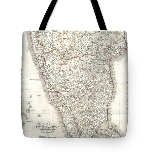 1838 Wyld Wall Map Of India Tote Bag by Paul Fearn