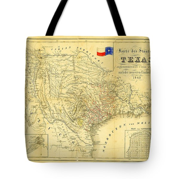 1849 Texas Map Tote Bag by Digital Reproductions