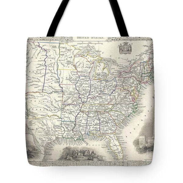 1851 Tallis And Rapkin Map Of The United States Tote Bag by Paul Fearn