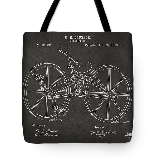 1869 Velocipede Bicycle Patent Artwork - Gray Tote Bag by Nikki Marie Smith