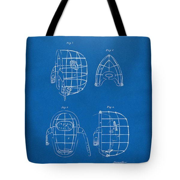 1878 Baseball Catchers Mask Patent - Blueprint Tote Bag by Nikki Marie Smith
