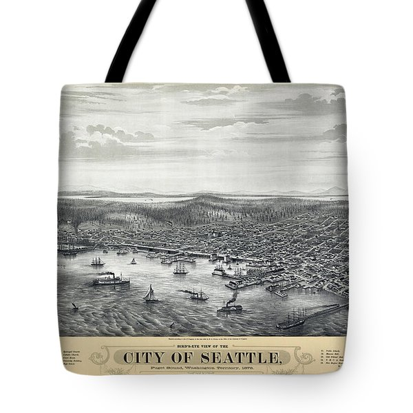 1878 SEATTLE WASHINGTON MAP Tote Bag by Daniel Hagerman